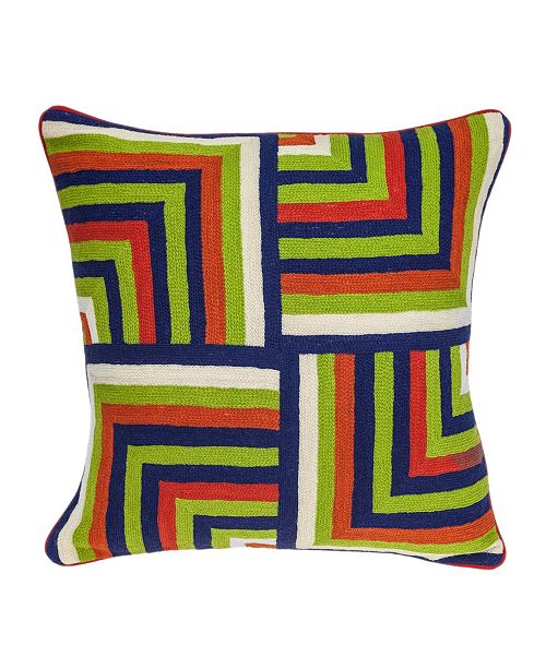 Parkland Collection Handmade Tauri Transitional Multicolored Pillow Cover with Polyester Insert
