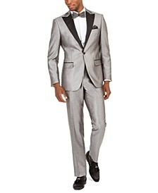 Orange Men's Slim-Fit Silver Twill Suit