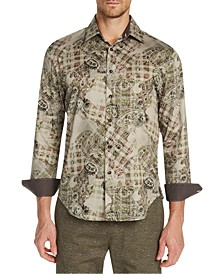 Men's Slim-Fit Stretch Paisley Check Long Sleeve Shirt