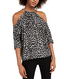 Leopard-Print Chain Cold-Shoulder Top