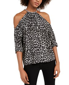 Michael Michael Kors Leopard-Print Chain Cold-Shoulder Top