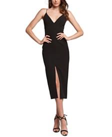 Bardot Plunge Slit Midi Dress