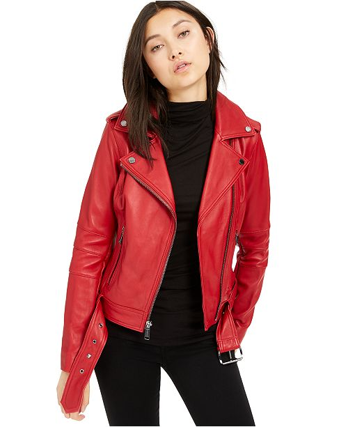 Michael Kors Leather Belted Moto Jacket, Created for Macy's