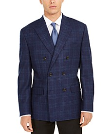 Men's Classic-Fit Plaid Double-Breasted UltraFlex Sport Coat