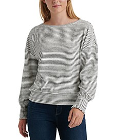 Striped Smocked-Cuff Sweatshirt