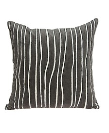 Pilan Transitional Grey Pillow Cover With Down Insert