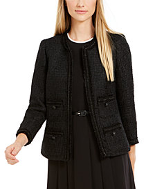 Anne Klein Tweed Patch-Pocket Jacket