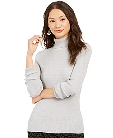 Petite Ribbed Turtleneck Sweater, Created For Macy's