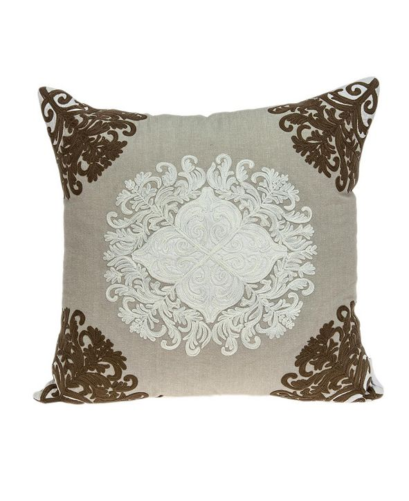 Parkland Collection Pilar Traditional Beige Pillow Cover with Polyester Insert