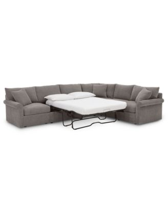 "Wedport 5-Pc. Fabric ""L"" Shape Modular Sleeper Sectional Sofa with Square Corner Piece, Created for Macy's"