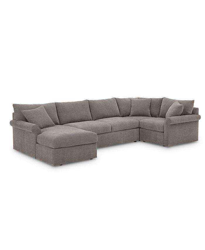 Furniture - Wedport 4-Pc. Fabric Modular Chaise Sectional Sofa with Square Corner Piece