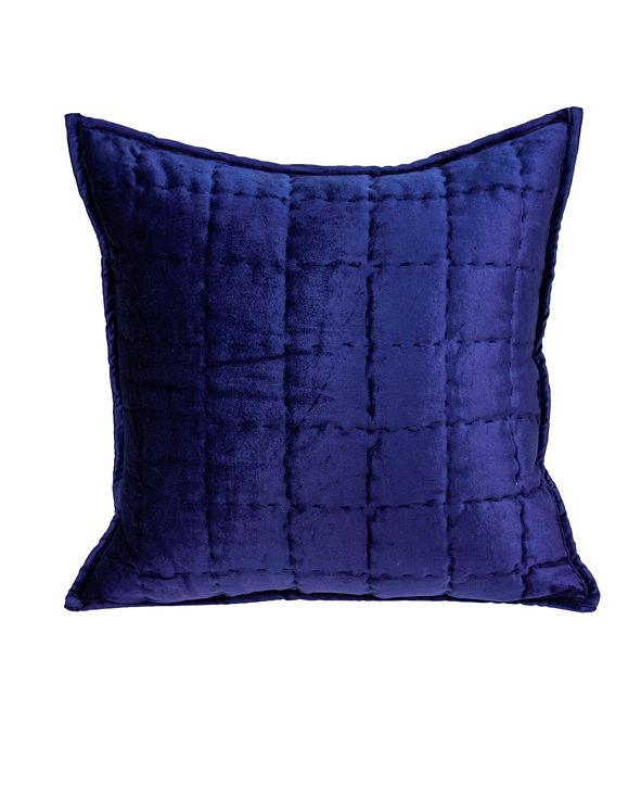 Parkland Collection Augusta Transitional Royal Blue Solid Quilted Pillow Cover with Polyester Insert