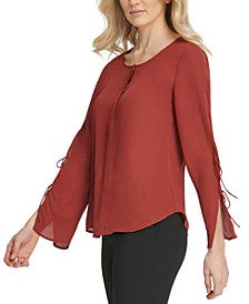 Tie-Sleeve Button-Neck Top