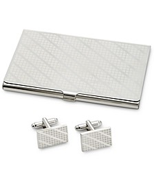 Men's Cuff Links & Card Case Set