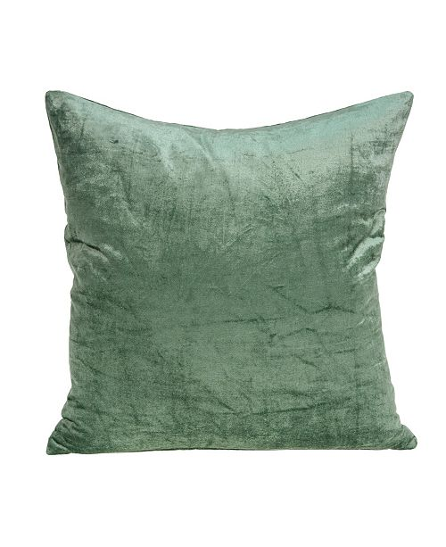 Parkland Collection Charlotte Transitional Green Solid Pillow Cover With Down Insert