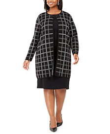 Plus Size Plaid Flyaway Jacket