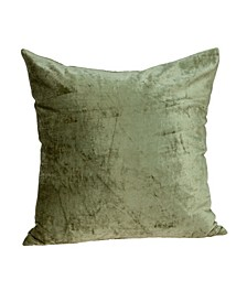 Sphene Transitional Olive Solid Pillow Cover With Down Insert
