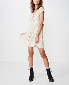 Woven Jenny Deep V Mini Dress