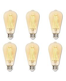 Lighting 4.5-Watt (40-Watt Equivalent) Amber ST20 Dimmable Filament LED Light Bulb, Medium Base 6 Pack