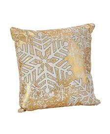 """Donnelou Snowflake Design Cotton Throw Pillow, 18"""" x 18"""""""