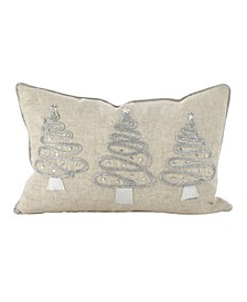 "Silver Christmas Tree Trio Design Polyester Filled Throw Pillow, 12"" x 18"""