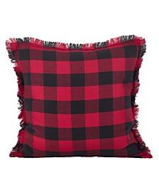 "Fringed Buffalo Plaid Design Cotton Throw Pillow, 20"" x 20"""