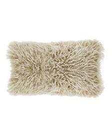 """Mongolian Faux Fur Throw Pillow, 12"""" x 20"""""""
