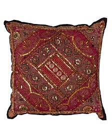 """Cotton Throw Pillow with Handmade Sari Sitara Design, 20"""" x 20"""""""
