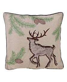 "Embroidered Throw Pillow with Faux Fur Reindeer Design, 16"" x 16"""