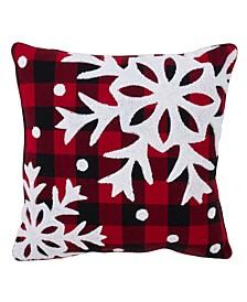 """Buffalo Plaid Snowflake Throw Pillow, 18"""" x 18"""""""