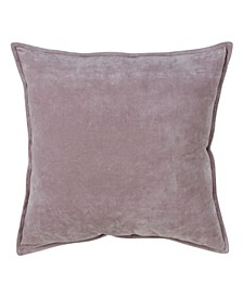"""Solid Cotton Velvet Polyester Filled Throw Pillow, 20"""" x 20"""""""
