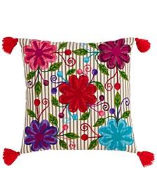 "Embroidered Flower Design Throw Pillow, 18"" x 18"""