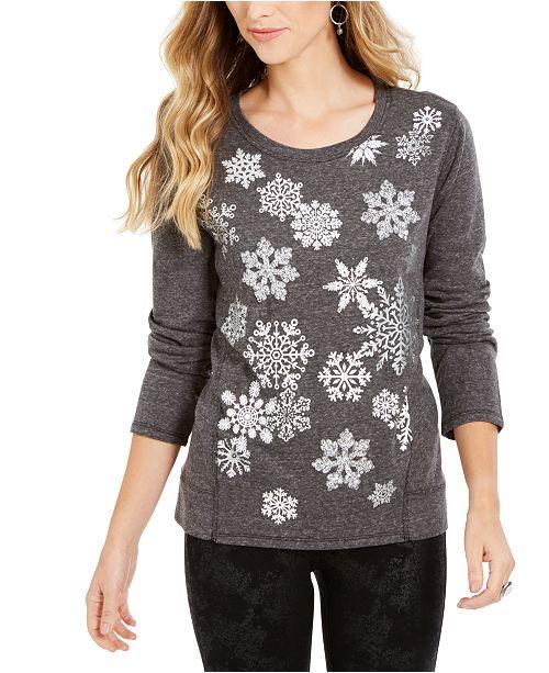 Style & Co Snowflake Embellished Sweatshirt, Created For Macy's