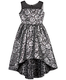 BCX Big Girls Floral Brocade High-Low Dress