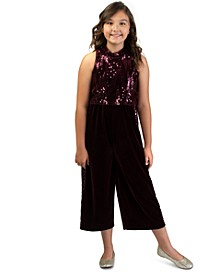 Big Girls Sequin Stretch Velvet Jumpsuit