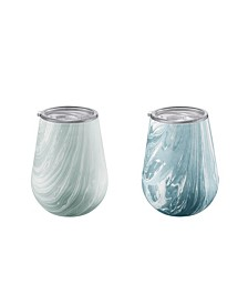 Cambridge Blue Marble Swirl 14oz Stainless Steel Stemless Wine Glasses - Set of 2
