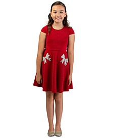 Big Girls Sparkle Knit Skater Dress With Rhinestone Bow Pockets