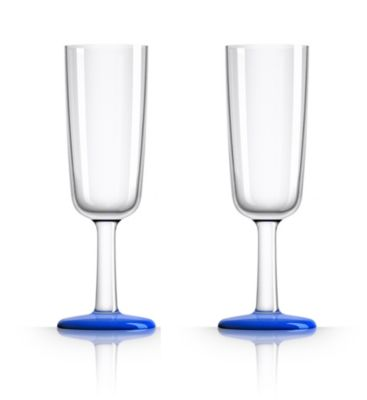 by Palm Tritan Flute Glass with Klein Blue non-slip base, Set of 2