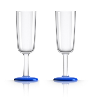 Marc Newson by Palm Tritan Flute Glass with Klein Blue non-slip base, Set of 2