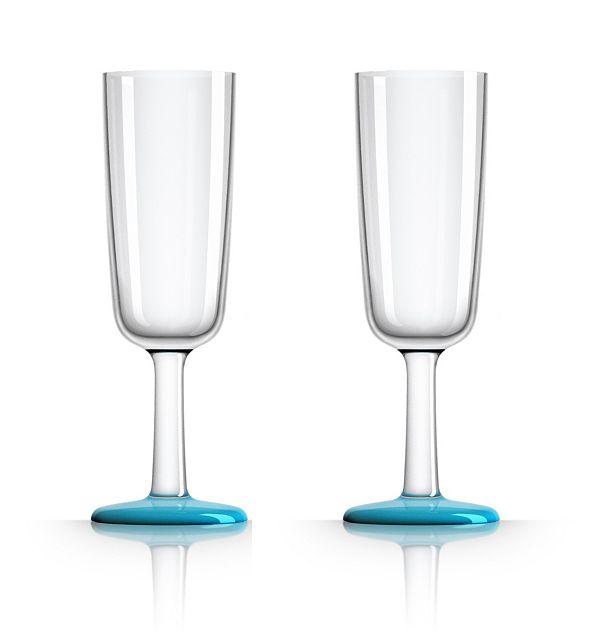 Marc Newson by Palm Tritan Flute Glass with Vivid Blue non-slip base, Set of 2