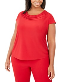 Kasper Plus Size Short-Sleeve Cowl-Neck Top
