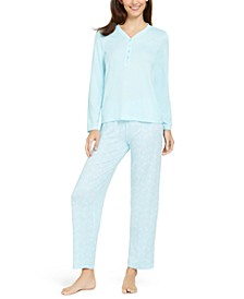Super Soft Knit Henley Top & Printed Pants Pajamas Set, Created For Macy's