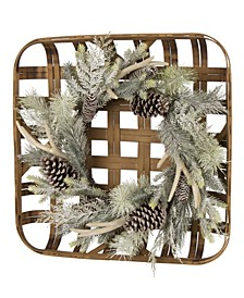 Bamboo Tobacco Basket with Flocked Pinecone Antler Wreath