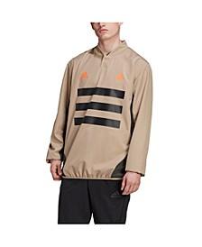 Men's TAN Woven Piste 3-Stripes Soccer Pullover