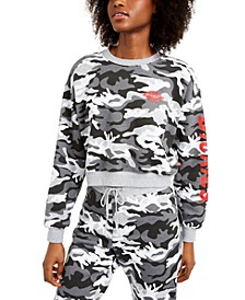 Cotton Cropped Camo-Print Sweatshirt