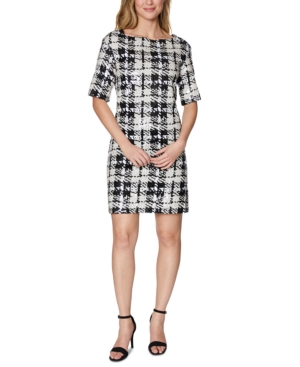 Laundry By Shelli Segal Dresses LAUNDRY BY SHELLI SEGAL SEQUINED PLAID SHIFT DRESS