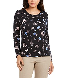 Pima Cotton Ditsy-Print Top, Created for Macy's