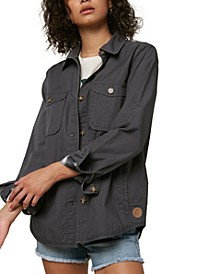 Juniors' Oversized Flannel-Lined Work Jacket