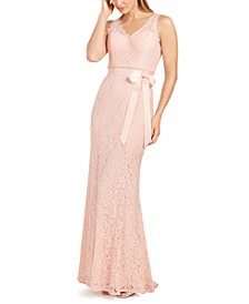 Lace V-Neck Sash Gown