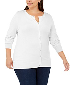 Plus Size Crew-Neck Cardigan, Created For Macy's